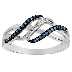 9ct White Gold Treated Blue & White Diamond Crossover Ring - Product number 2770466