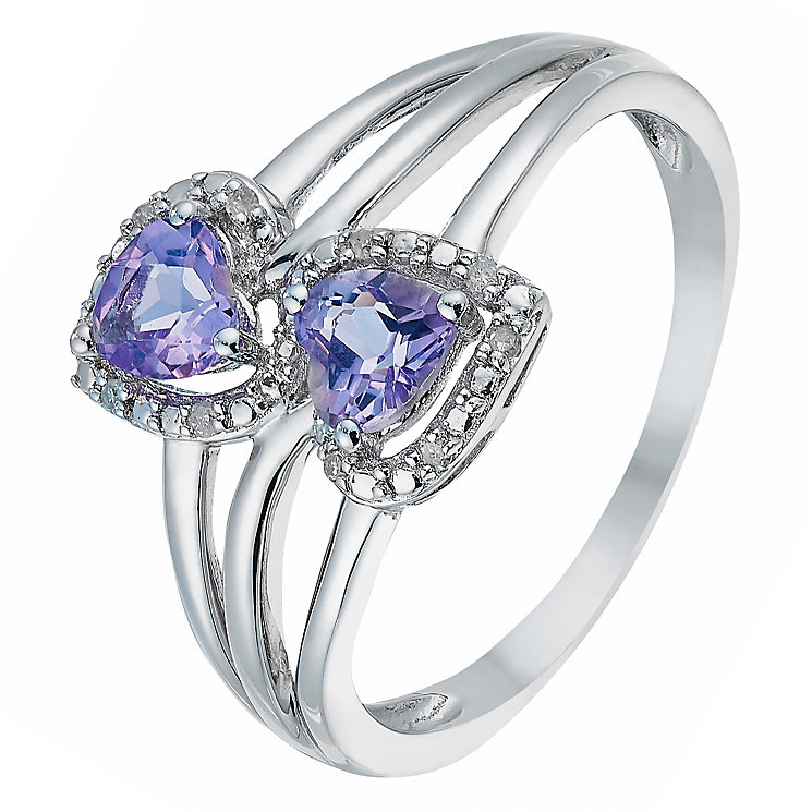 Argentium Silver Amethyst & Diamond Double Heart Ring - Product number 2770857