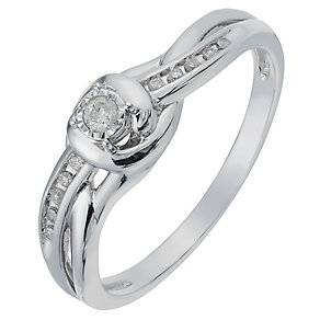 9ct White Gold Diamond Illusion Solitaire Ring - Product number 2770997