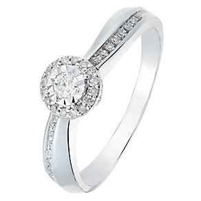 9ct White Gold Diamond Halo Illusion Solitaire Ring - Product number 2771136