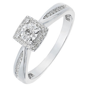 9ct White Gold Diamond Square Illusion Solitaire Ring - Product number 2771268