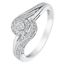 9ct White Gold 1/4 Carat Diamond Twist Solitaire Ring - Product number 2771381