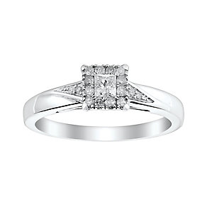9ct White Gold 1/4 Carat Princess Cut Diamond Solitaire Ring - Product number 2771527