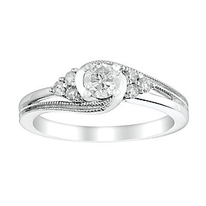 9ct White Gold 2/5 Carat Diamond Twist Solitaire Ring - Product number 2771659
