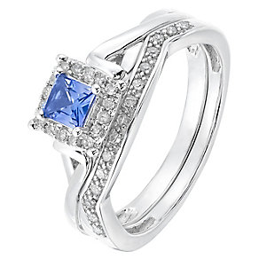 Perfect Fit 9ct White Gold Tanzanite & Diamond Bridal Set - Product number 2771780