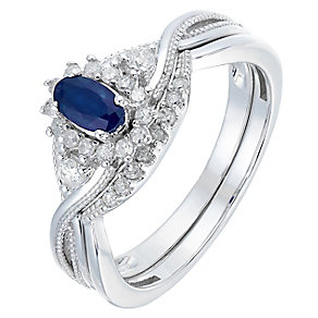 Perfect Fit 9ct White Gold Sapphire & Diamond Bridal Set - Product number 2771926