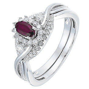 Perfect Fit 9ct White Gold Ruby & Diamond Bridal Set - Product number 2772051