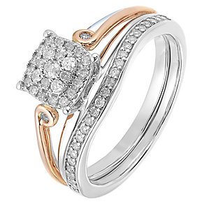 Perfect Fit 9ct White & Rose Gold Diamond Cluster Bridal Set - Product number 2772183