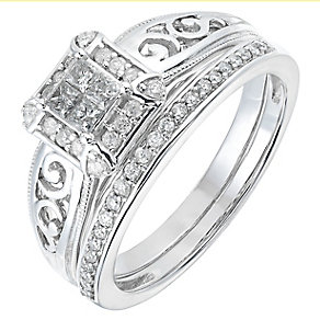 Perfect Fit 9ct White Gold 1/3 Carat Diamond Bridal Set - Product number 2772329