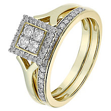 Perfect Fit 9ct Yellow Gold 1/3 Carat Cluster Bridal Set - Product number 2772469
