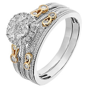 Perfect Fit 9ct White & Rose Gold Diamond Cluster Bridal Set - Product number 2772590