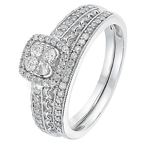 Perfect Fit 9ct White Gold 2/5 Carat Diamond Bridal Set - Product number 2772736