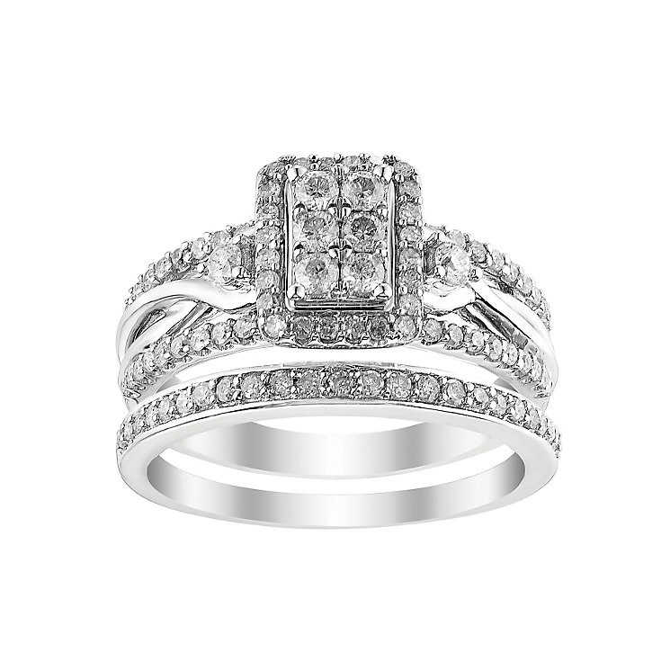 Perfect Fit 9ct White Gold Diamond Cluster Bridal Set - Product number 2773864