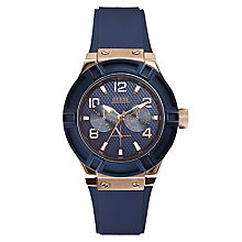 Guess Ladies' Rose Gold Tone & Navy Silicone Strap - Product number 2776820