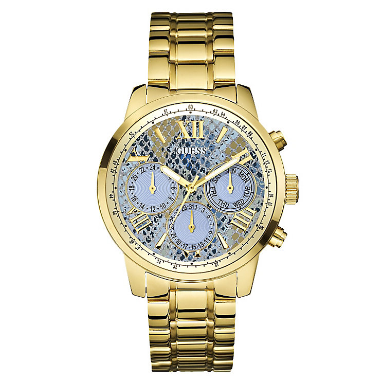 Guess Ladies' Yellow Gold Tone Blue Snakeskin Dial Watch - Product number 2776847