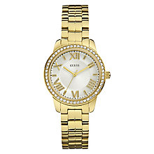 Guess Ladies' Yellow Gold Tone Crystal Set Bracelet Watch - Product number 2776898