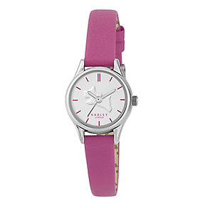 Radley Ladies' Silver Plated Pink Leather Slim Strap Watch - Product number 2777398