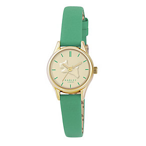 Radley Ladies' Yellow Gold Plated Green Leather Strap Watch - Product number 2777401