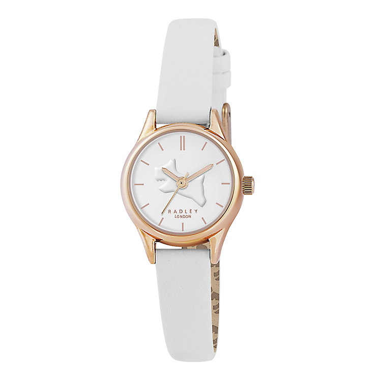 Radley Ladies' Rose Gold Plated White Leather Strap Watch - Product number 2777428