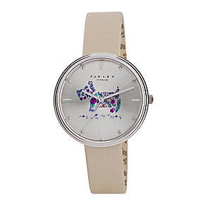 Radley Ladies' Flower Scottie Dog Cream Leather Strap Watch - Product number 2777436