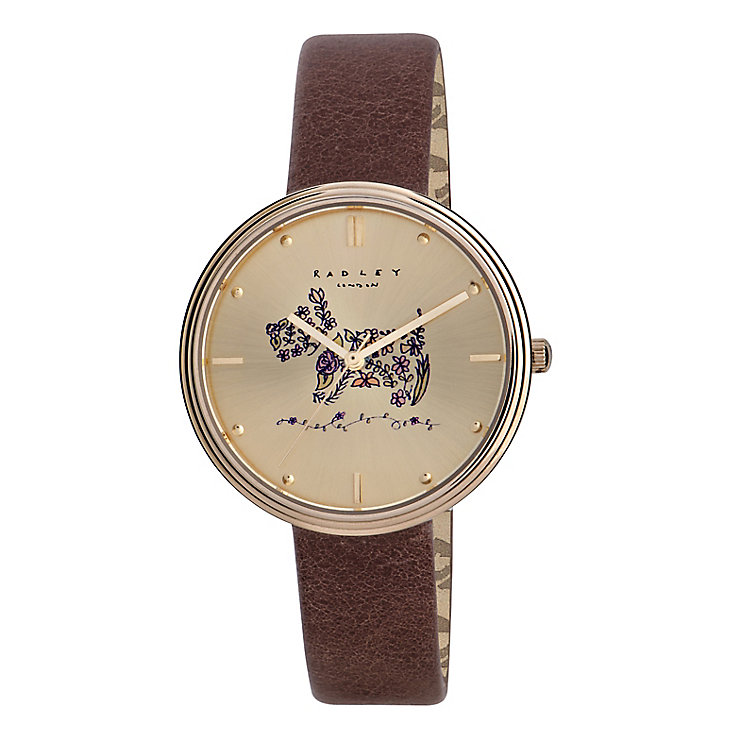 Radley Ladies' Flower Scottie Dog Tan Leather Strap Watch - Product number 2777444