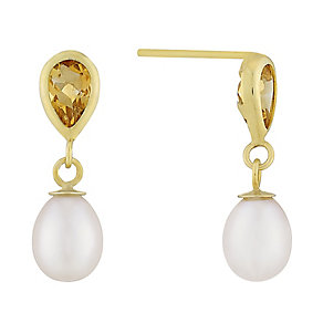 9ct yellow gold and citrine drop earrings - Product number 2777894