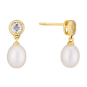 9ct yellow gold pearl and white topaz drop earrings - Product number 2777916