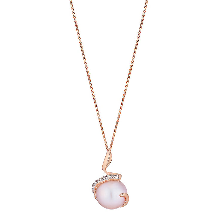 9ct rose gold pink pearl and diamond pendant - Product number 2778068