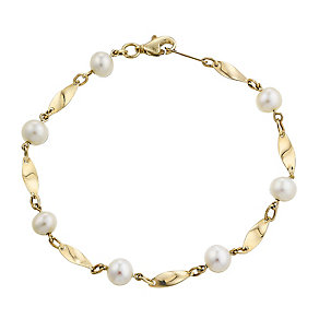 9ct yellow gold cultured freshwater pearl twist bracelet - Product number 2778114