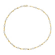 9ct yellow gold cultured freshwater pearl twist necklet - Product number 2778130