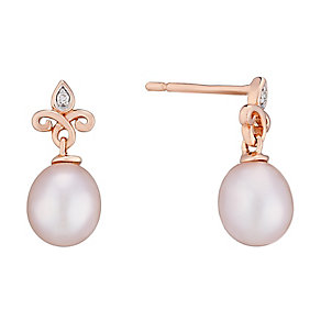 9ct rose gold and pink freshwater pearl and diamond earrings - Product number 2778939