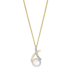 9ct yellow gold freshwater pearl and diamond pendant - Product number 2779013