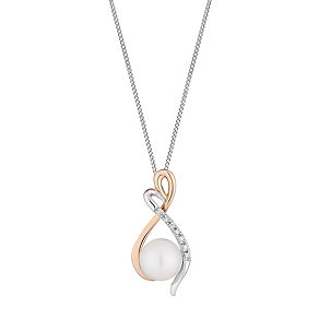 9ct white and rose gold freshwater pearl and diamond pendant - Product number 2779048