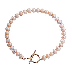 9ct rose gold cultured freshwater pearl bracelet - Product number 2779056