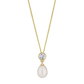 9ct yellow gold and white topaz freshwater pearl pendant - Product number 2779080