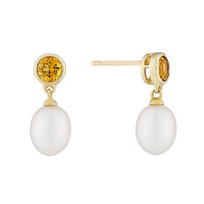 9ct yellow gold freshwater pearl and citrine drop earrings - Product number 2779110