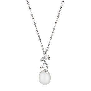 9ct white gold freshwater pearl and diamond leaf pendant - Product number 2779188