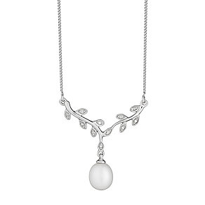 9ct white gold freshwater pearl and diamond necklace - Product number 2779226
