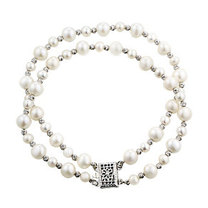 Silver cultured freshwater pearl double bracelet - Product number 2779277