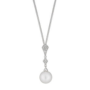 Silver cultured freshwater pearl and cubic zirconia pendant - Product number 2779307