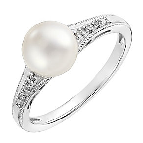 9ct white gold cultured freshwater pearl and diamond ring - Product number 2779331