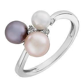 9ct white gold cultured freshwater pearl and diamond ring - Product number 2779463