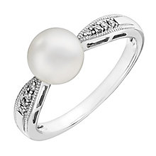 Silver freshwater pearl and cubic zirconia ring - Product number 2779609