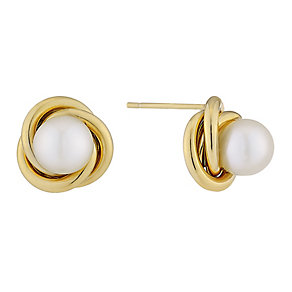 9ct yellow gold cultured freshwater pearl knot studs - Product number 2779730