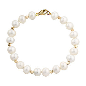 9ct yellow gold cultured freshwater pearl beaded bracelet - Product number 2779781