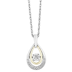Diamonds in Rhythm Sterling Silver & 9ct Yellow Gold Pendant - Product number 2779897