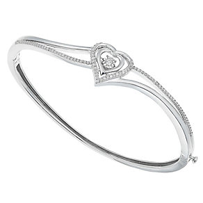Diamonds in Rhythm Sterling Silver Diamond Heart Bangle - Product number 2779900
