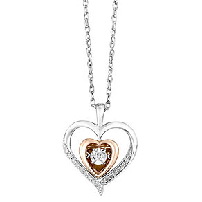 Diamonds in Rhythm Silver & 9ct Rose Gold Diamond Pendant - Product number 2779935