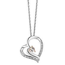 Silver & Rose Gold Diamond & Morganite Heart Pendant - Product number 2779943