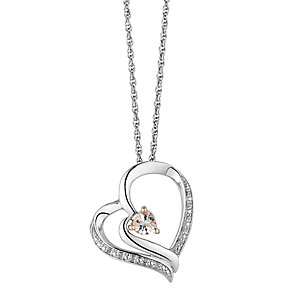Candy Hearts Silver & Rose Gold Diamond & Morganite Pendant - Product number 2779943